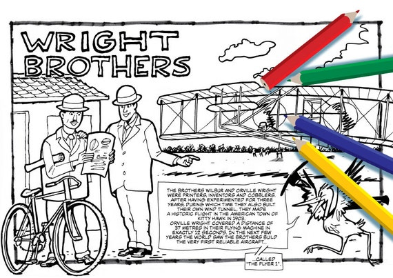 wright brothers coloring page - wright brothers history of aviation coloring page