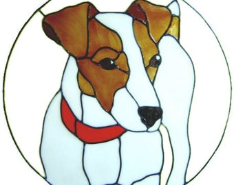 Jack Russell Dog Handpainted Window Cling - get the look of stained glass  (Ref 592)