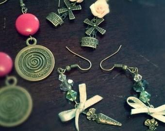 """Antique handmade earrings """"white rose"""""""