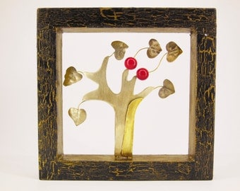 Metal Tree Of Life Sculpture, Brass And Nickel Silver Tree With Red Beads In Crackled Wooden Frame, Wall Or Table Art, Art Gift, Unique Gift