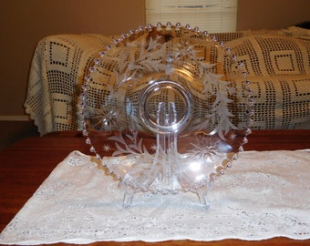 etched vintage  crystal cake plate 12.5  inches(FREE SHIPPING)