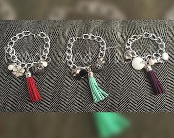 Silver Button and Tassel Bracelets