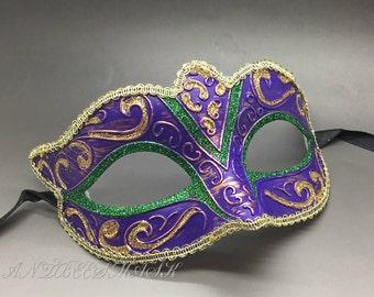 New Women Venetian Purple Masquerade Mardi Gras Costume Party Mask