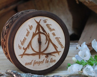 Small Always jewerly box for Harry Potter's fans Wooden box Personalized box Harry Potter gift ring box Hogwarts gift