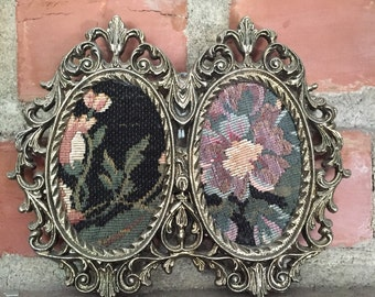 """Vintage Floral Tapestry Meta Frame Wall Decor 7"""" x 6"""""""