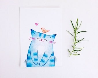 Illustration Cat, Postcard, A5 Digital Print, Cat Art Print, Nursery Art, Wall Decor, Cute Cat - Happy Cat