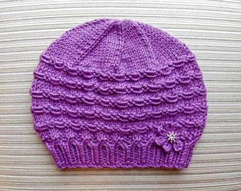 "Instant Download Knitting Pattern Hat ""Adrienne"" for a Lady"