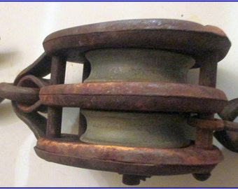 Pulley- DOUBLE  PULLEY-----All Steel---- With Hook--ANTIQUE