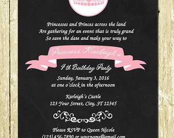 Pink Damask Princess Digital Chalkboard Birthday Invitaitons