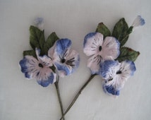 Millinery flowers 4 velvet silk pansies in French blue for Altered Art, Corsages, Jewellery or Hair accessories