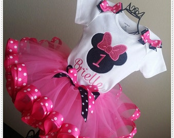 Minnie Mouse Hot Pink Birthday TuTu Outfit with matching Hair Bow;1st, 2nd, 3rd,4th, 5th and up Birthday