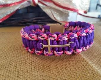 Paracord Two-Color Cobra Stitch Bracelet with Cross Charm