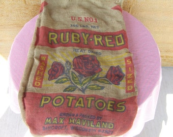 "Vintage ""Ruby-Red"" Potatoe burlap sack"