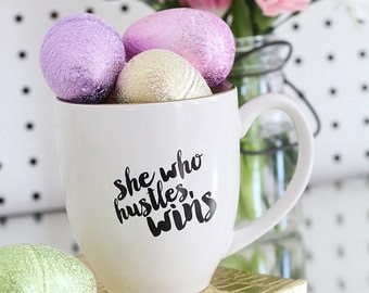 She Who Hustles Wins - gold rimmed ceramic mug