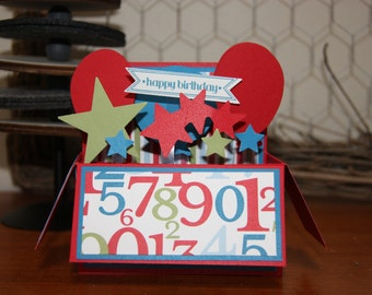 Handmade Card in a Box - Birthday (numbers)