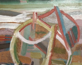 Vintage Avant Garde seascape boats oil collage painting