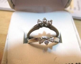 Natural Diamond, 14K White Gold Engagement Ring Guard 1/3 Carat