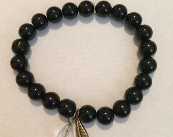 beaded feather charm bracelet