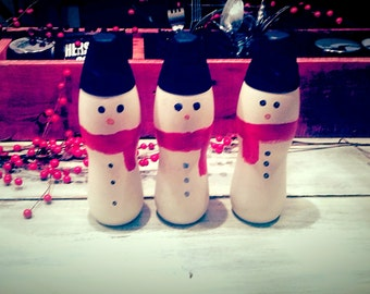 Snowman Decor Re-Purposed Material Handcrafted Holiday Decor