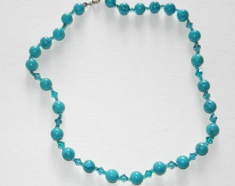 Crystal City NY Hand made Turquoise and Swarovski crystals Necklace