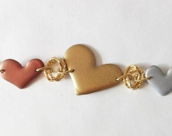 Tri-color 3 hearts bracelet handmade polymers and resins