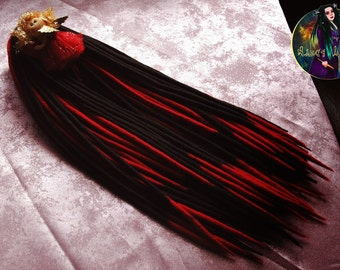 "Set of wool dreads ""Black&Red"""
