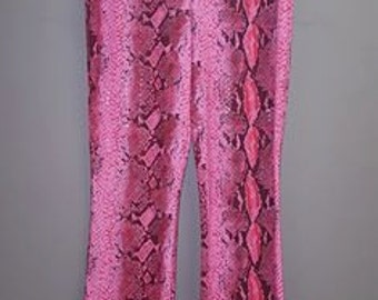 Vintage Wet-Look Hot Pink Python Snake Print Stretch Pants by PerSeption