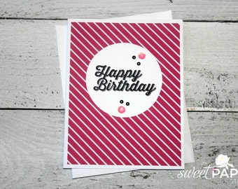 Stampin' Up! Birthday Card, Pretty in Pink Collection, Feminine Birthday Card, Black and Pink Greeting Card, Pink Stripes Birthday Card