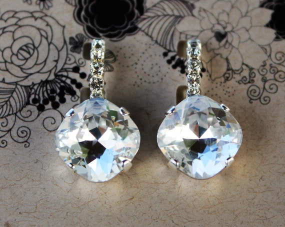 12mm Cushion Cut Swarovski Crystal Earrings with the look of diamonds and platinum