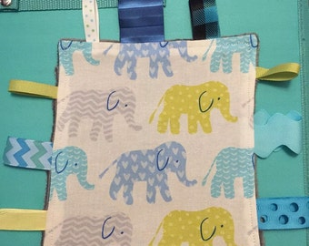 Elephant Taggie Blanket * Blue and Green Sensory Blanket * Ribbon Blanket * Ready to Ship