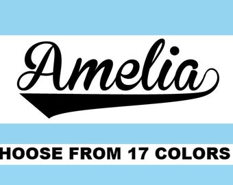 Personalized Baseball Jersey Name or Word -Custom Vinyl Iron On Decal Choose your Color- Glitter or Matte