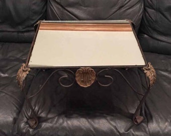 Vintage Wrought Iron End Coffee Table, Patio Furniture, Intricate Base,  Mirrored Surface 18