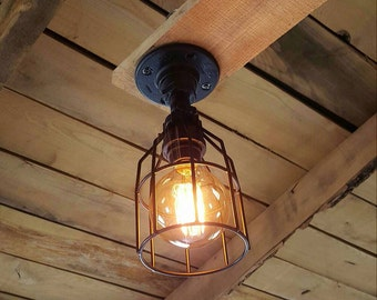Industrial Lighting- Ceiling Pendant- Iron Pipe Light- Edison Bulb Machine Age Steampunk- Barn light- FREE SHIPPING!