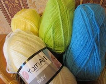 Baby yarn, acrylic yarn, hypoallergenic yarn, yarn for kids, knitting yarn, crochet yarn, summer yarn, yarn for sale,
