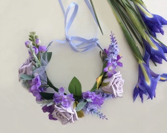 Childrens mauve flower crown purple headband