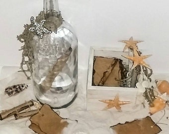Message In A Bottle, Guest Book Alternative, Guest Book And Pen Beach Wedding,100 distressed notes, Coastal Wedding, Note In A Bottle