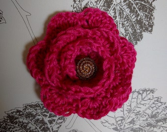 Crochet Flower Brooch, Pink Crochet Brooch, Pink Flower Brooch, Flower Brooch