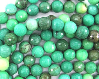 "10mm faceted green chrysoprase round beads 7.5"" strand 32062"