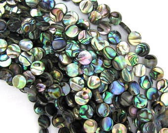 "8mm abalone shell coin beads 16"" strand 30396"