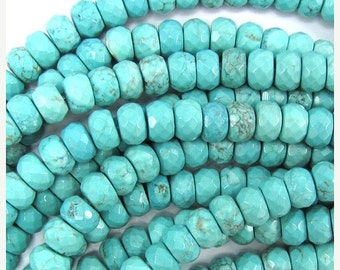 """10% SALE 10mm faceted blue howlite turquoise rondelle beads 7.5"""" strand 32269"""