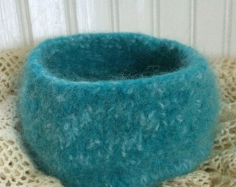 Small pale turquoise felted wool bowl