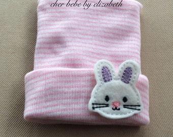 Bunny Spring Newborn beanie, pink striped hospital hat with an Easter bunny,  first keepsake, Newborn, Hospital Hat