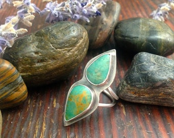 Handmade Tuquoise and Silver Statement Ring (size 6 3/4)