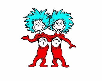 Thing 1 and Thing 2 Dr Seuss Machine Embroidery Design