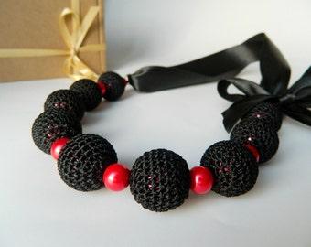 Black necklace.  Crochet necklace. Bridal jewelry. Bridesmaid jewelry. Wedding jewelry. Necklace on ribbon. Motherdays gift
