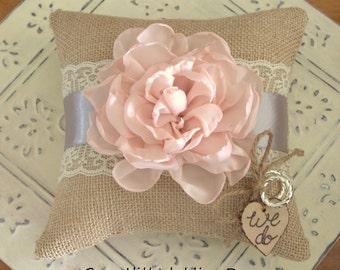 Ring Bearer Pillow Pink and Gray Lace Burlap Ring Bearer Pillow Wedding Ring Pillow Wedding Bands Burlap