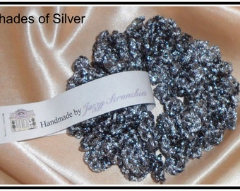 S03# Silver Scrunchie, silver, metallic, SPARKLE scrunchie