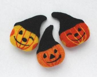 Set of 3 brooches Pumpkin Halloween Needle felted brooch Brooch Pumpkin Decoration Halloween Pumpkin felted brooch