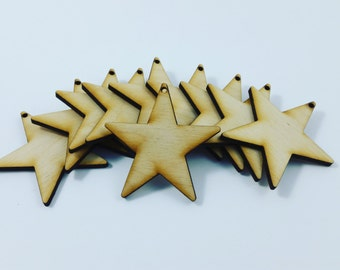 Laser Cut - Unfinished Wood Shapes - Craft Supplies - Stars (solid)