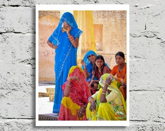 Fine Art Print, Women in Vibrant Multi-Color Saris in Jaipur, India